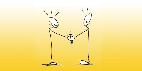 Two stickmen shaking hands