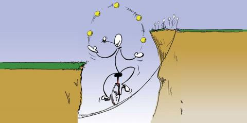 A juggling stick man on a unicycle on a wire suspended between two cliffs