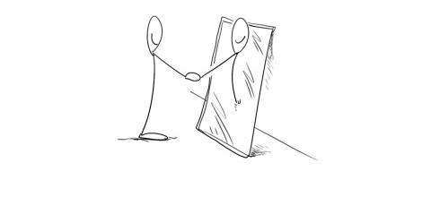 A stick man shaking hands with his mirror image