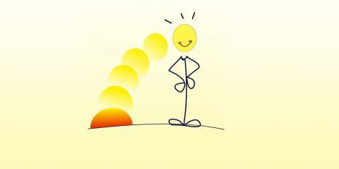 A stick man, its head lit up by a illustrative sunset