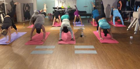 A group of people in a yoga class stretching on mats