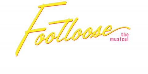 Footloose spelled out in a bright yellow font