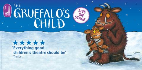 Illustration of the Gruffalo's Child and its dad sitting in a snowy landscape