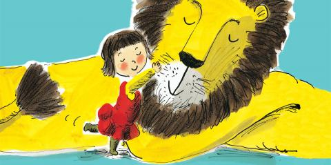 Helen Stephens' Illustration of a little girl cuddling a big yellow lion