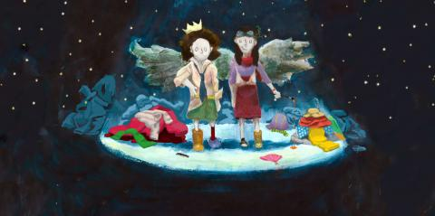 an illustration of two children standing in a beam of light