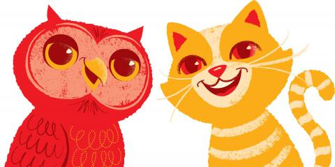 Orange-yellow-red drawing of an owl and a cat
