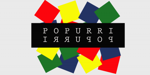 Popurri: the word Popurri in white letters on black, spelt forwards and backwards. It is surrounded by red, green, blue and yellow squares.