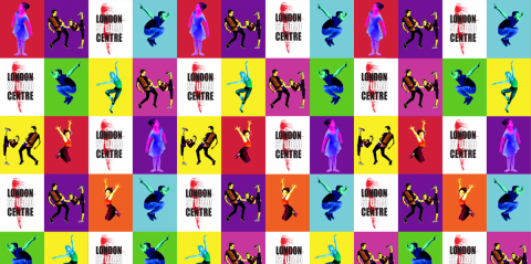 Colourful vignettes of dancers pulling shapes next to the LSC logo