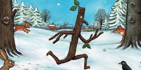 Stick Man running through the forest. Illustration by Axel Scheffler.