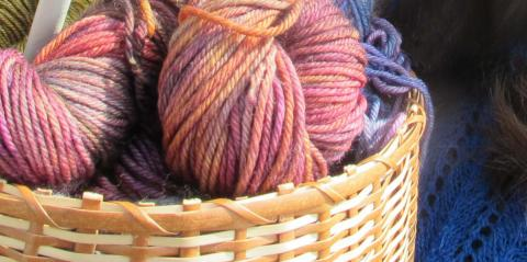 Stitch in Time Knitting Cabaret - a basket full of thick colourful wool