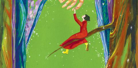 Oscar Wilde The Selfish Giant: a girl in a red dress sitting on a branch, reaching out to giant fingers above her
