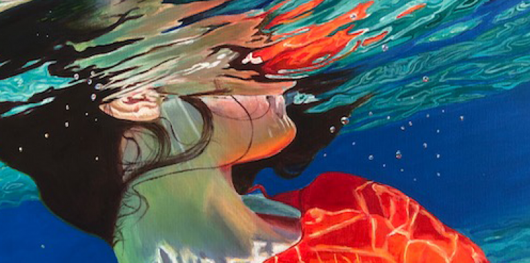 a woman underwater