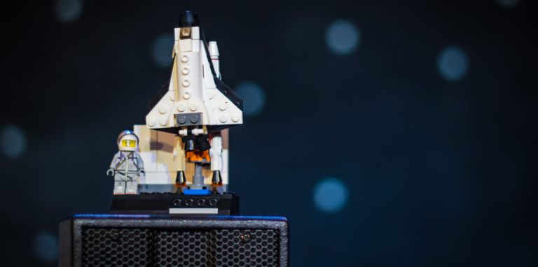 lego astronaut and rocket