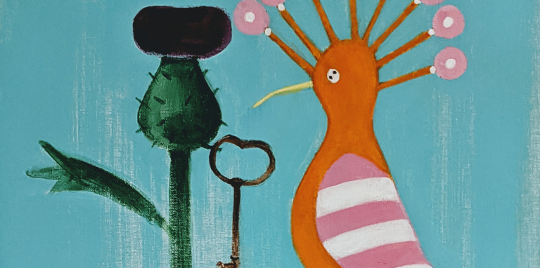 painting of bird, plant and a key