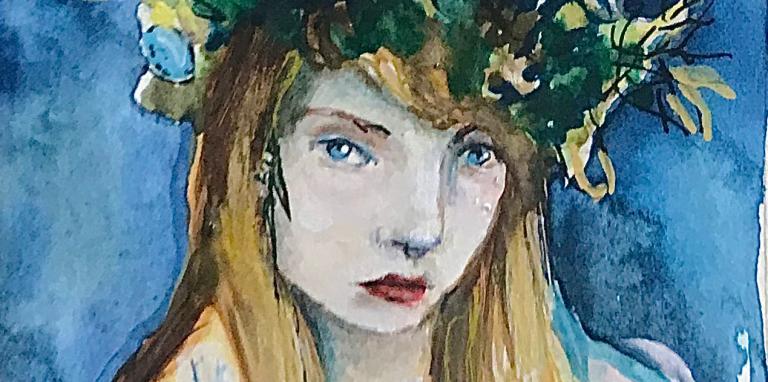 woman in green headress
