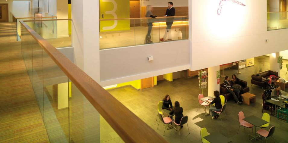 photo of artsdepot's atrium, a light and airy space with balconies