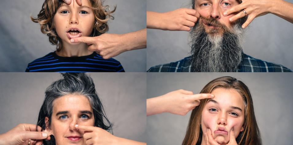 Grace Surman & Gary Winters: for portraits of a family, two adults and two children, their faces are being squished by someones hand