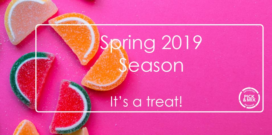 a pink background with multicoloured, orange slice-shaped jelly sweets and the words Spring 2019 - It's a Treat