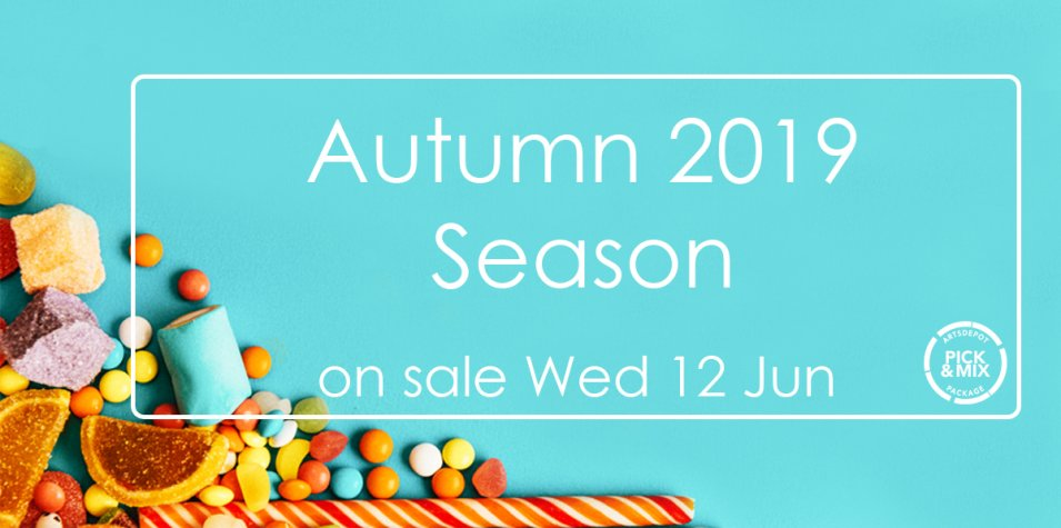 Autumn 2019 Season on sale Wed 12 Jun. White letters on a blue background scattered with red, yellow, orange and blue jelly and rock sweets