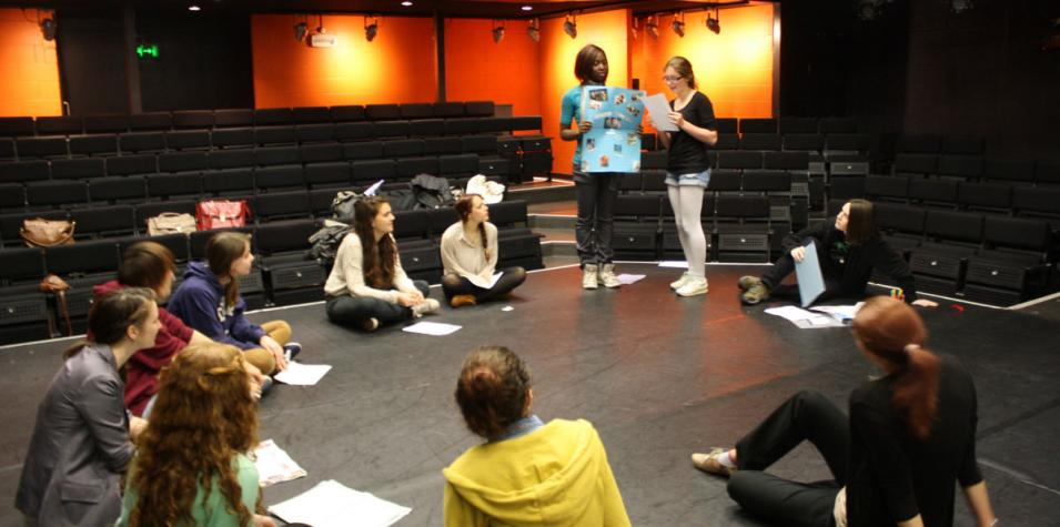 Group workshop on Studio Theatre stage