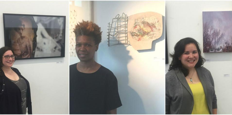 A photo of three artists standing in front of their work at the artsdepot Open exhibition.