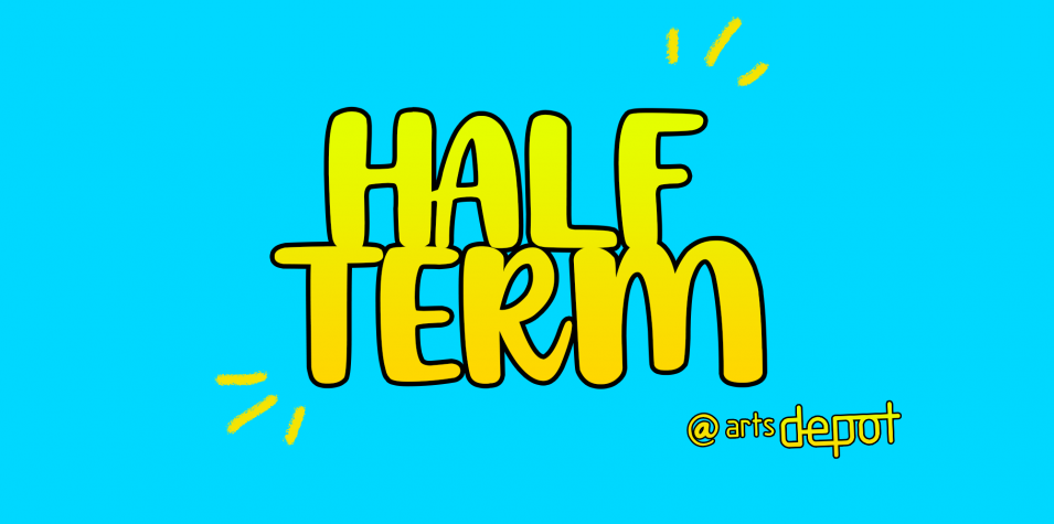 half term on blue background