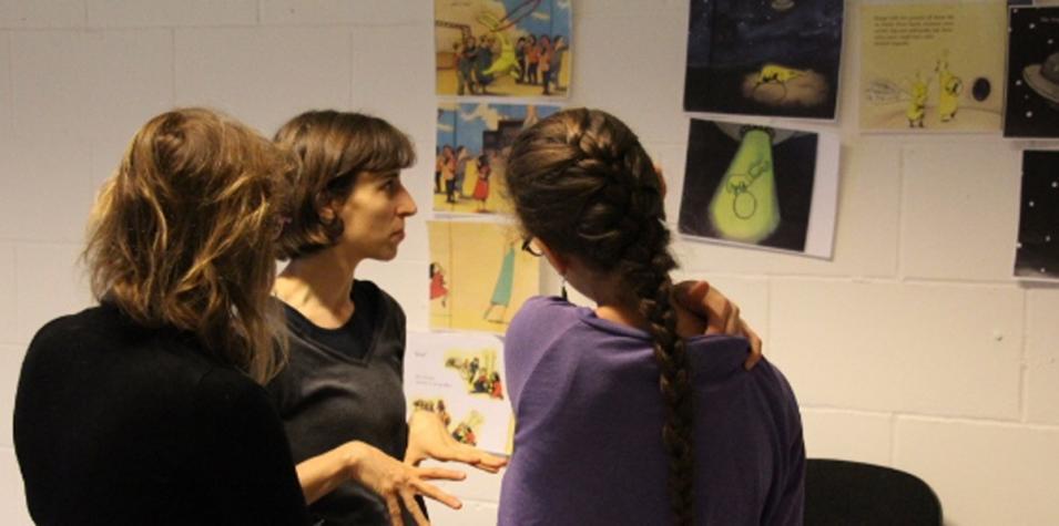 Rachel Warr in rehearsal for Beegu