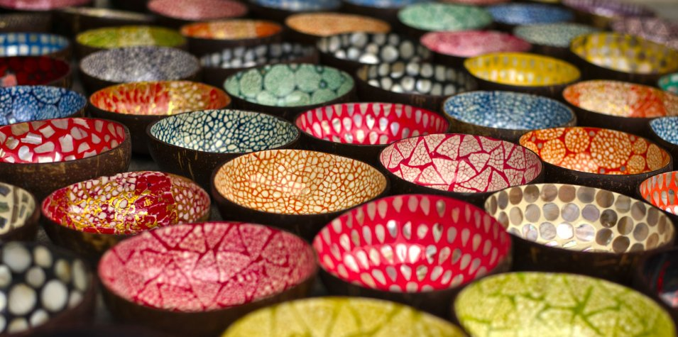 A variety of coloured bowls