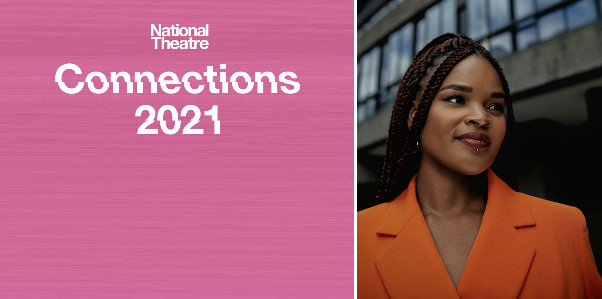 On the left side of the image, a white NT Connections logo is on a pink background. On the right is a picture of Abigail Sewell, a black woman with long dark braided hair. She is wearing an orange blazer jacket and is smiling. She is pictured outdoors.