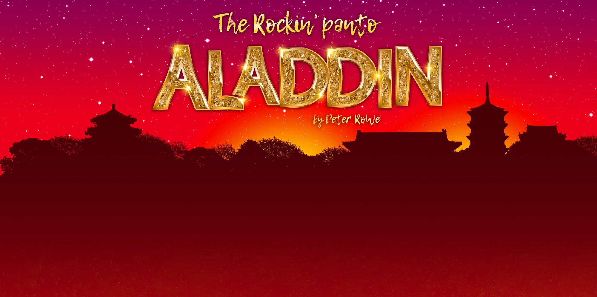 the title Aladdin The rockin panto on red background