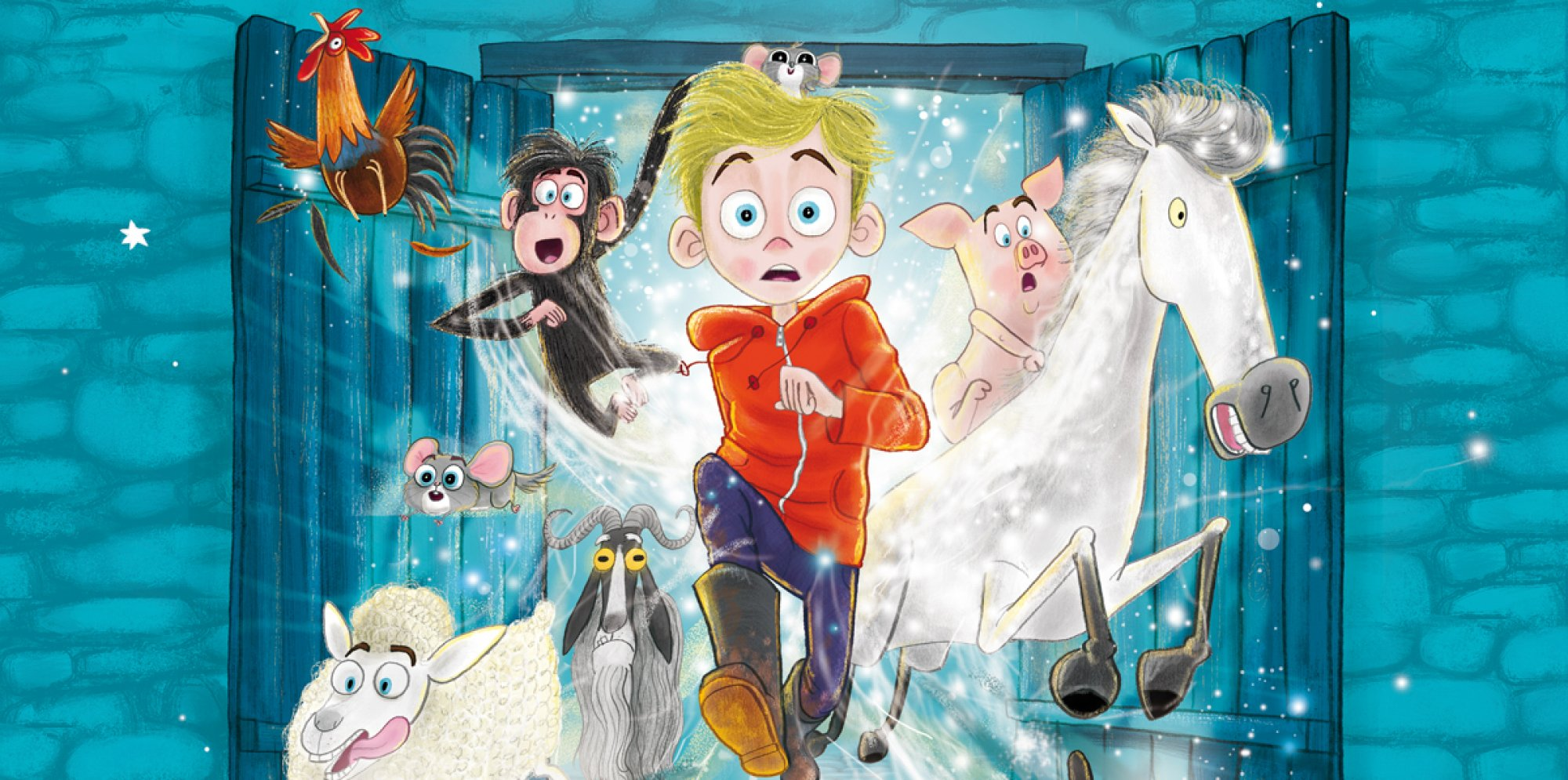 David Baddiel's Animalcolm - Malcolm and a host of animals bursting out of a door
