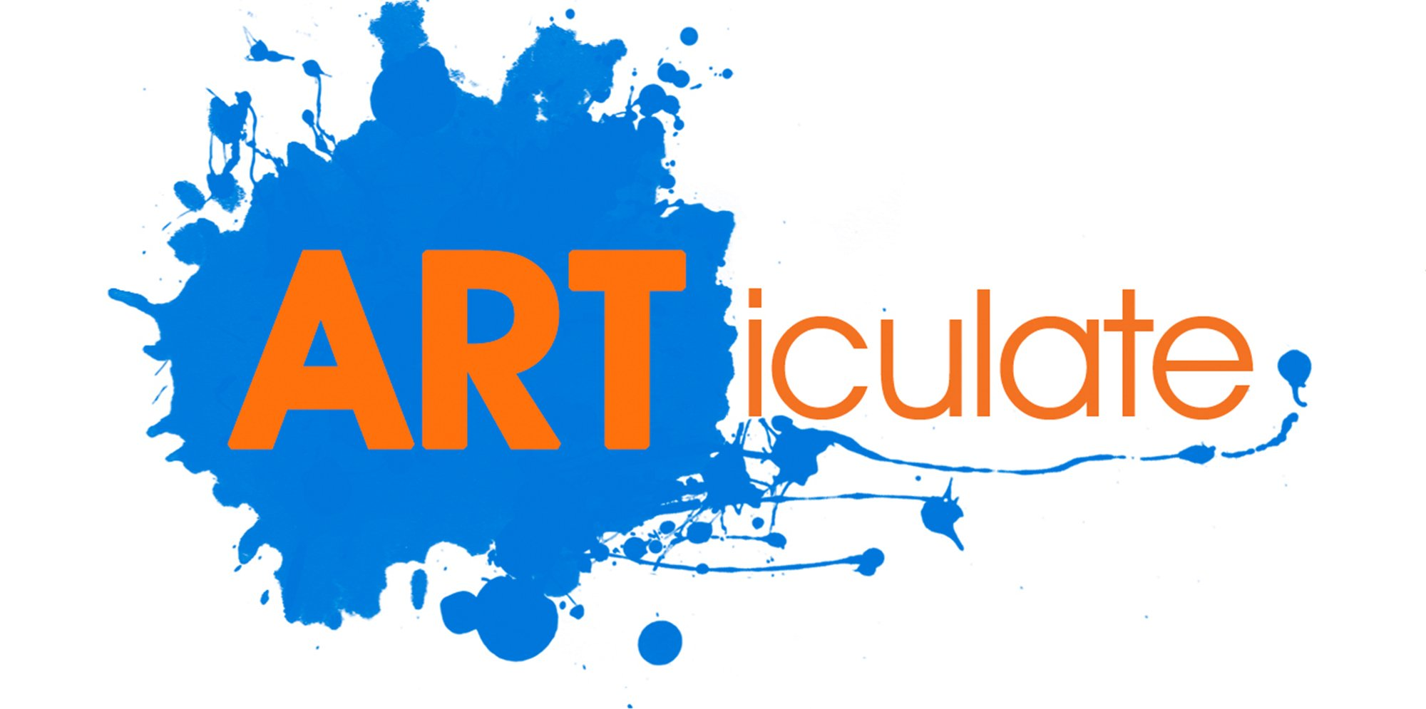 The logo for Articulate, the text is orange, with the letters A R T capitalised against a blue paint spaltter