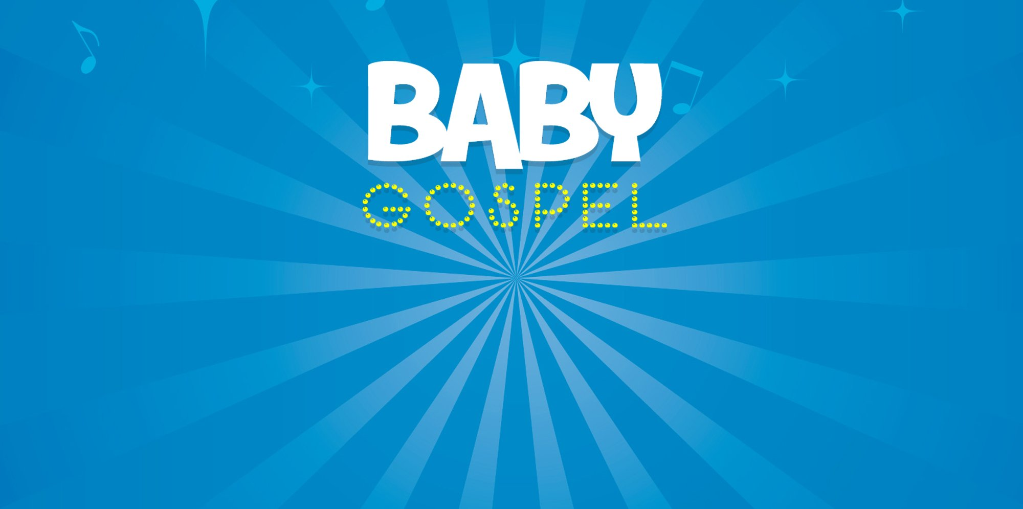 The words baby gospel are on a blue background.
