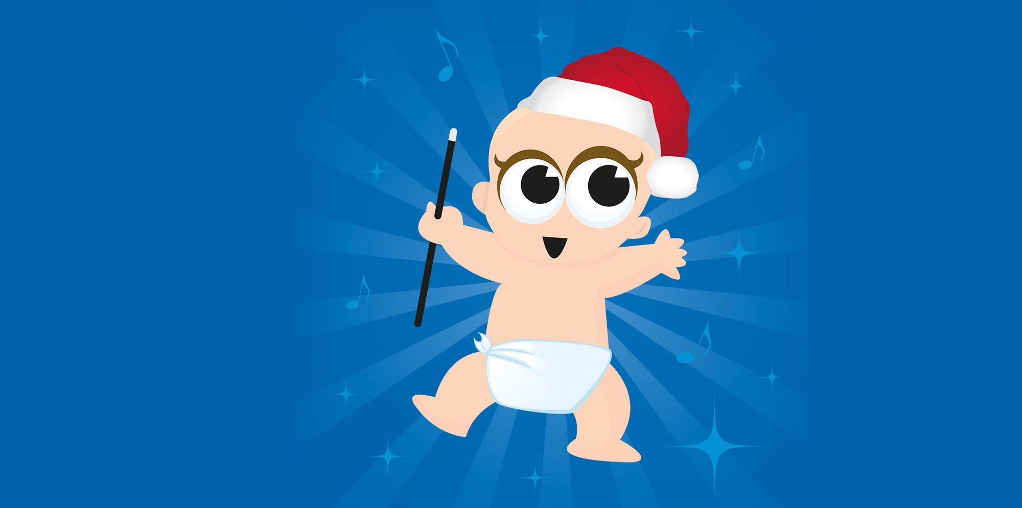 Baby Broadway: an illustration of a baby in a white nappy wearing a Santa hat and waving a  conducting stick.