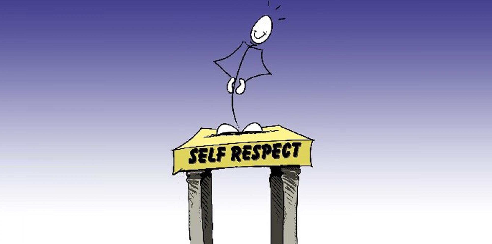 a stick man standing behind a pulpit titled 'Self respect'