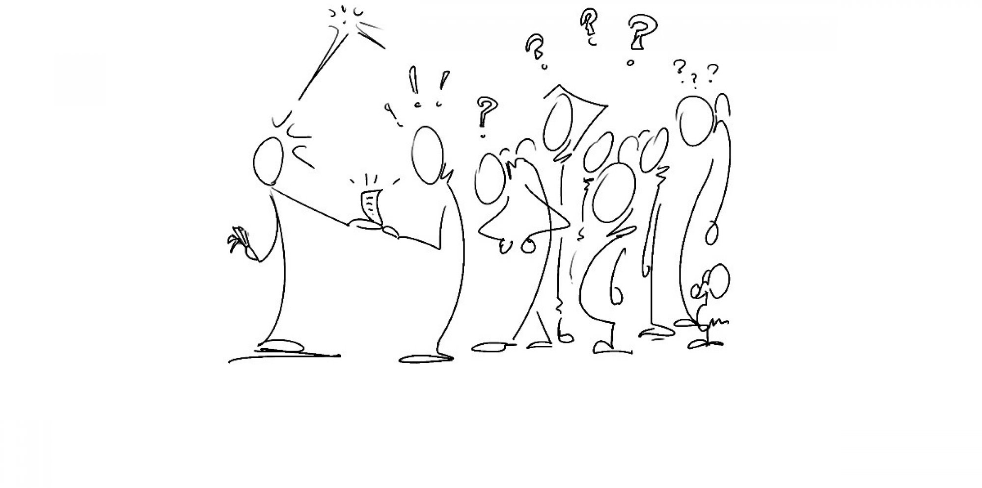 black stick figures having an engaged conversation with exclamation marks appearing over their heads