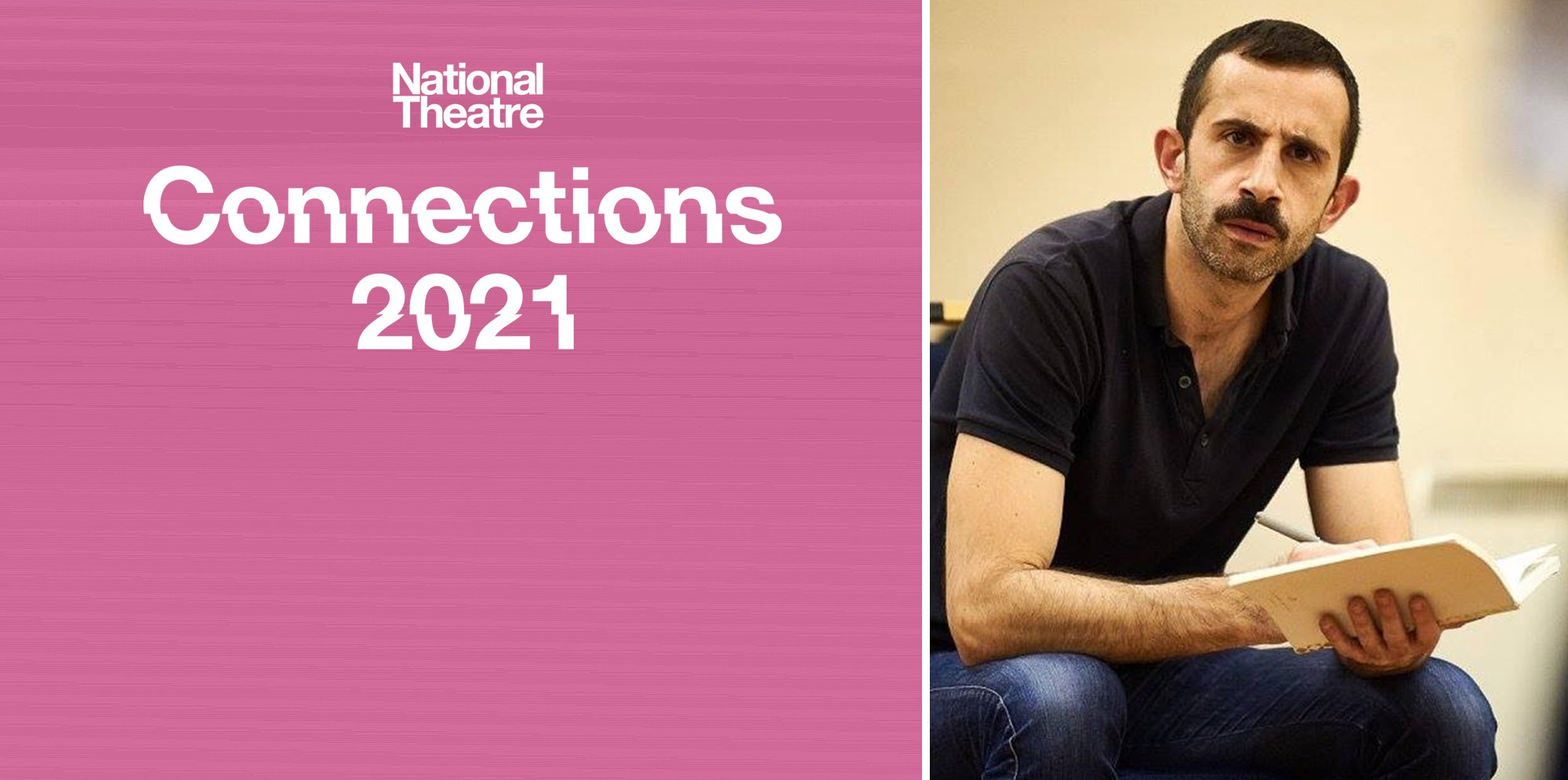 On the left side of the image, a white NT Connections logo is on a pink background. On the right is a picture of Brian Mullin, a white man with short dark hair. He has a notebook and pen in his hands and is looking thoughtfully at something off screen.