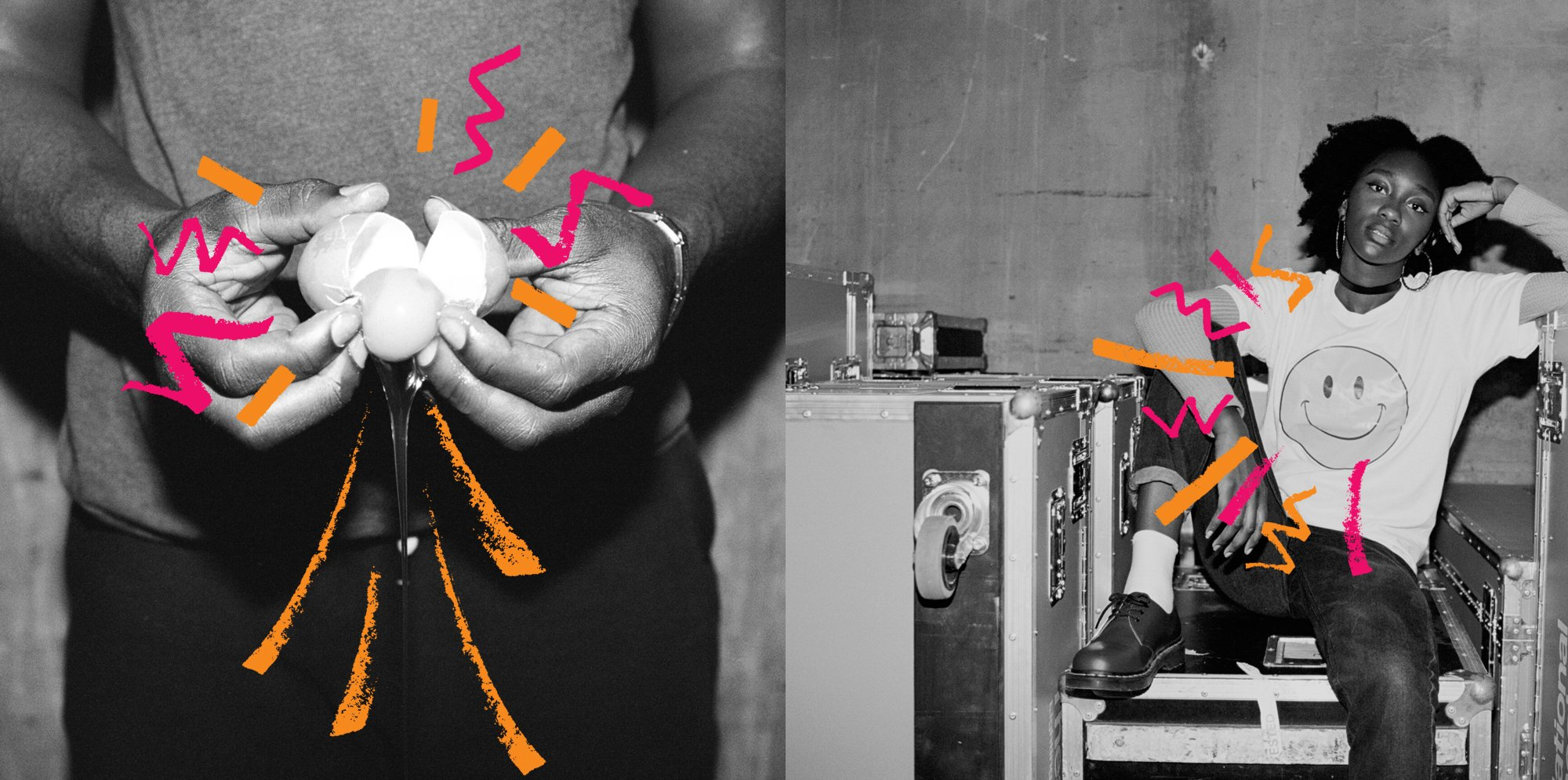 NT Connections 2 images: one of hands cracking an egg, and one of a woman looking melancholic, wearing a t-shirt with a smiley from which graffiti marks explode