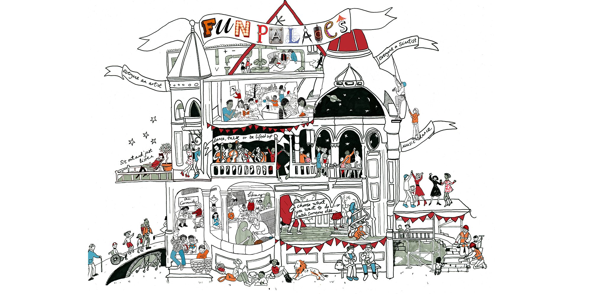 An illustration of a palace like house, we can see into rooms where all sorts of activities going on, from crafts, science, singing and more