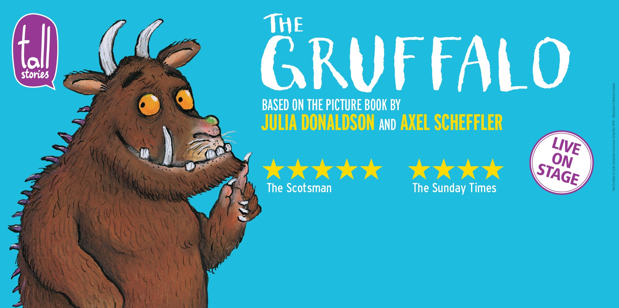The Gruffalo - an illustration of a smiling monster on a blue background