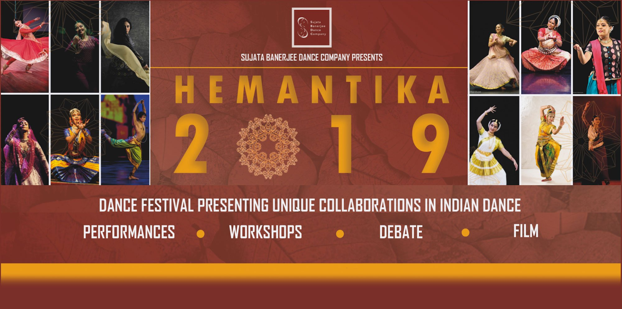 Hemantika Kathak Festival: images of woman in classical Indian dresses dancing, interspersed with text advertising performances, debate, workshop and film