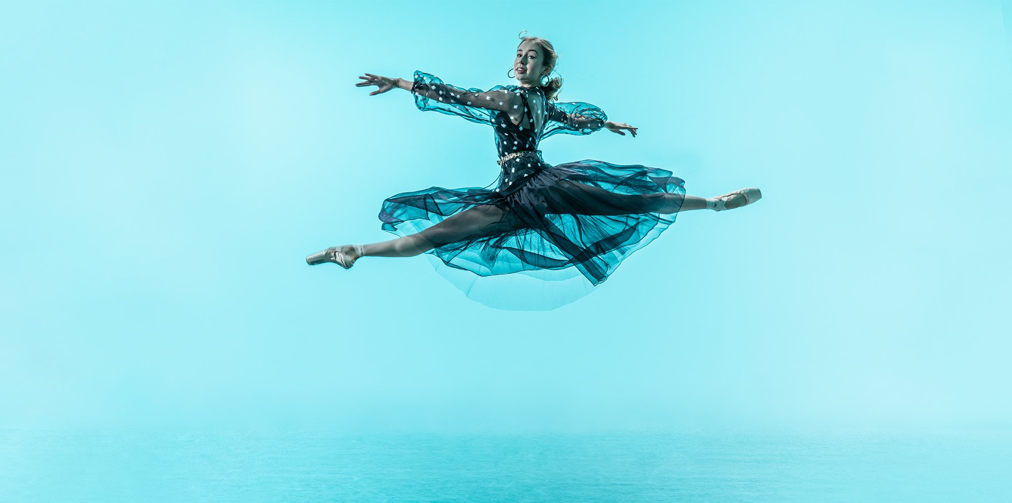 a ballet dancer leaping
