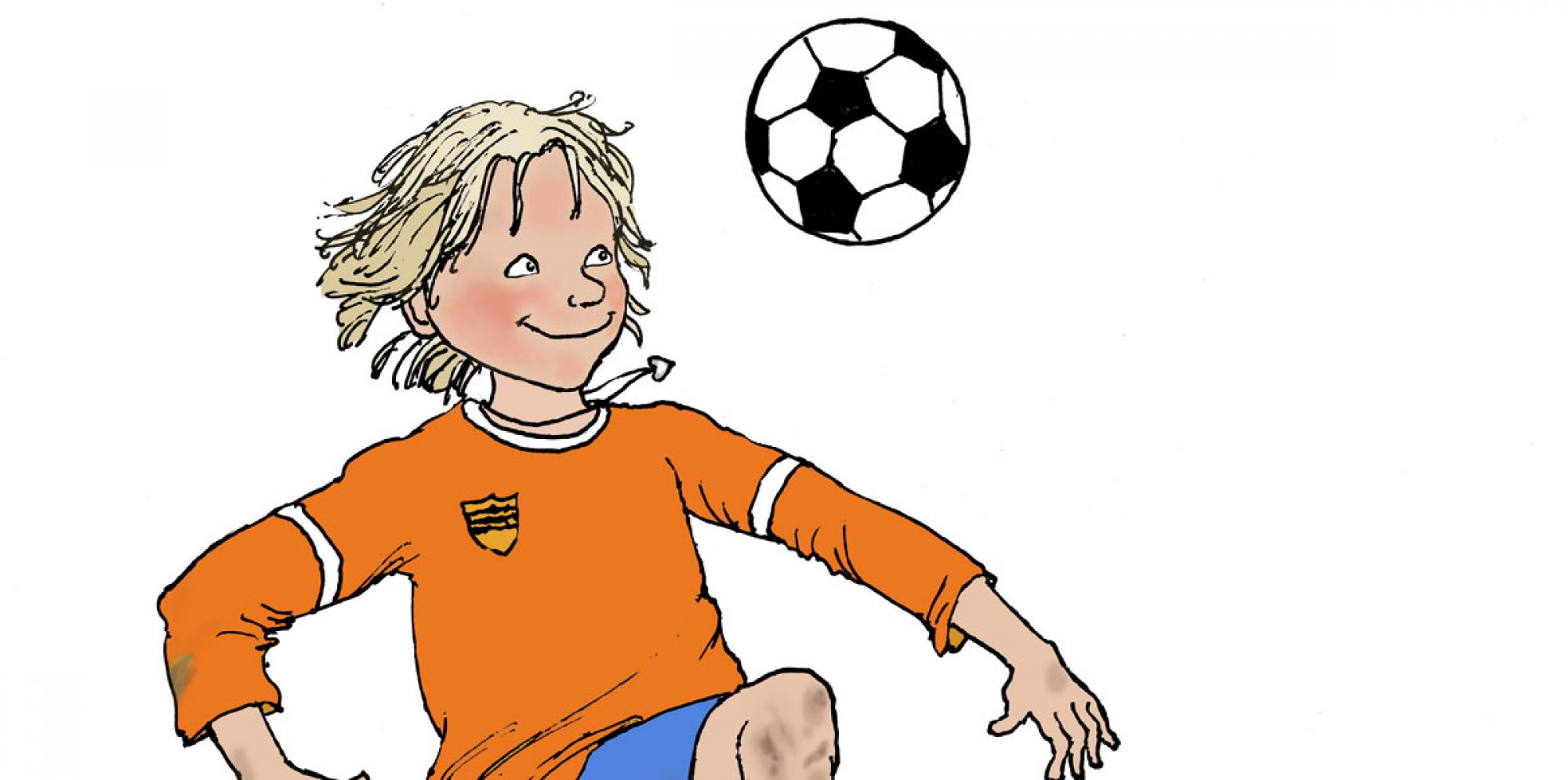 Drawing of a blond boy in an orange T-shirt looking at a hovering football