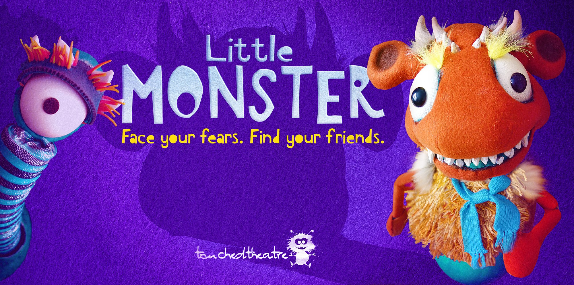 The text 'Little Monster' is in the middle on a purple background. On the left, there is a one-eyed monster. On the right there is an orange monster wearing a blue scarf. The tag line reads 'face your fears, find your friends'
