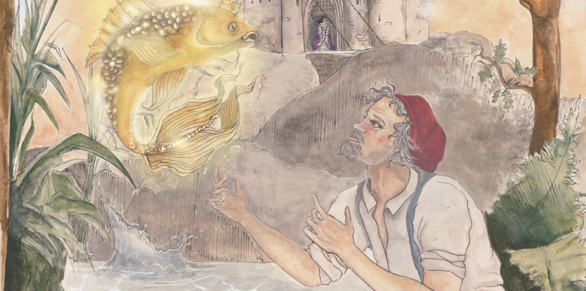 an illustration of a man in a woodland, looking up to see a golden glowing fish. In the background is a house with a woman in front of it.
