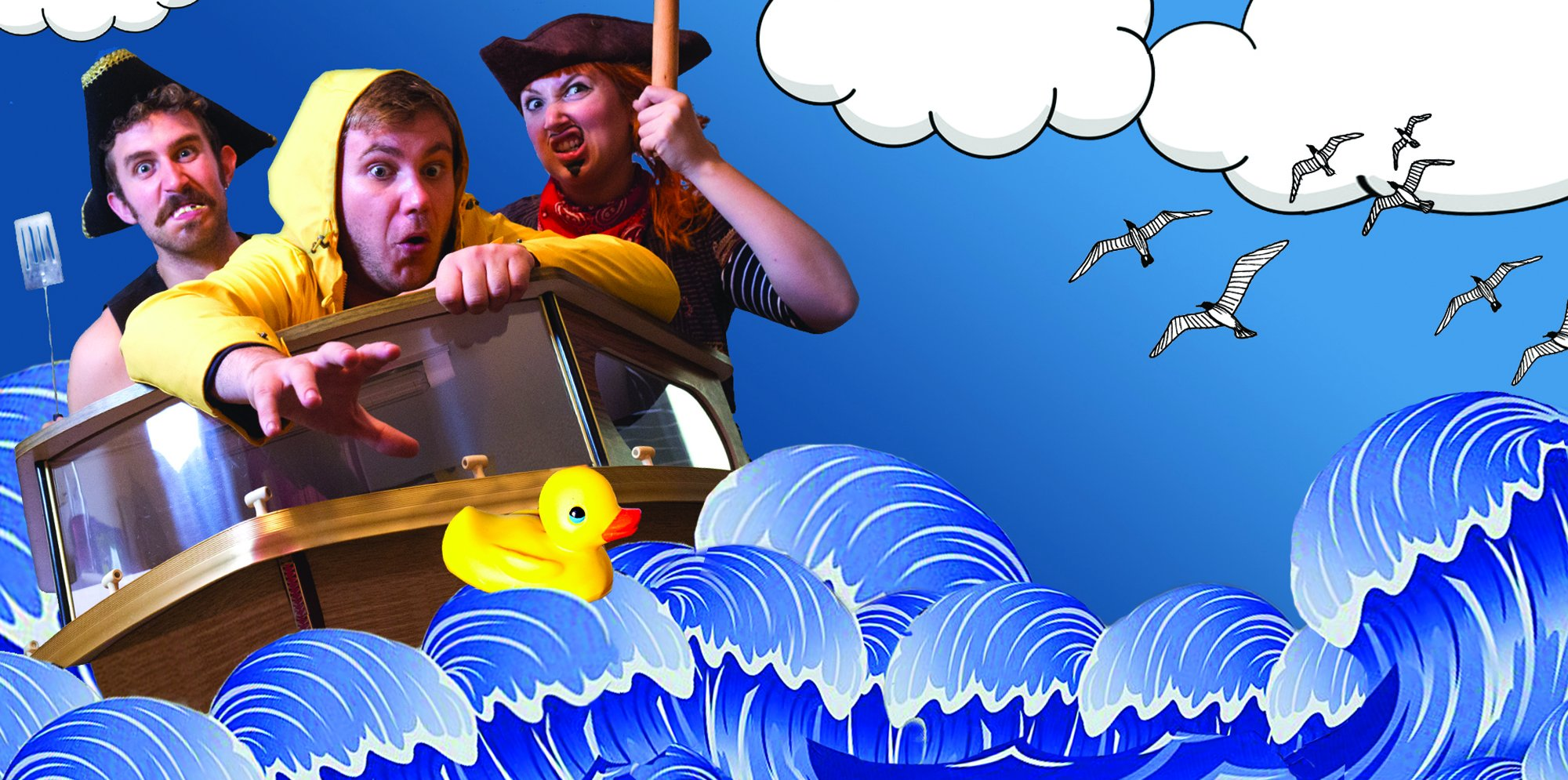 Three people are in a boat wearing pirate hates on the sea. They are reading for a rubber duck.