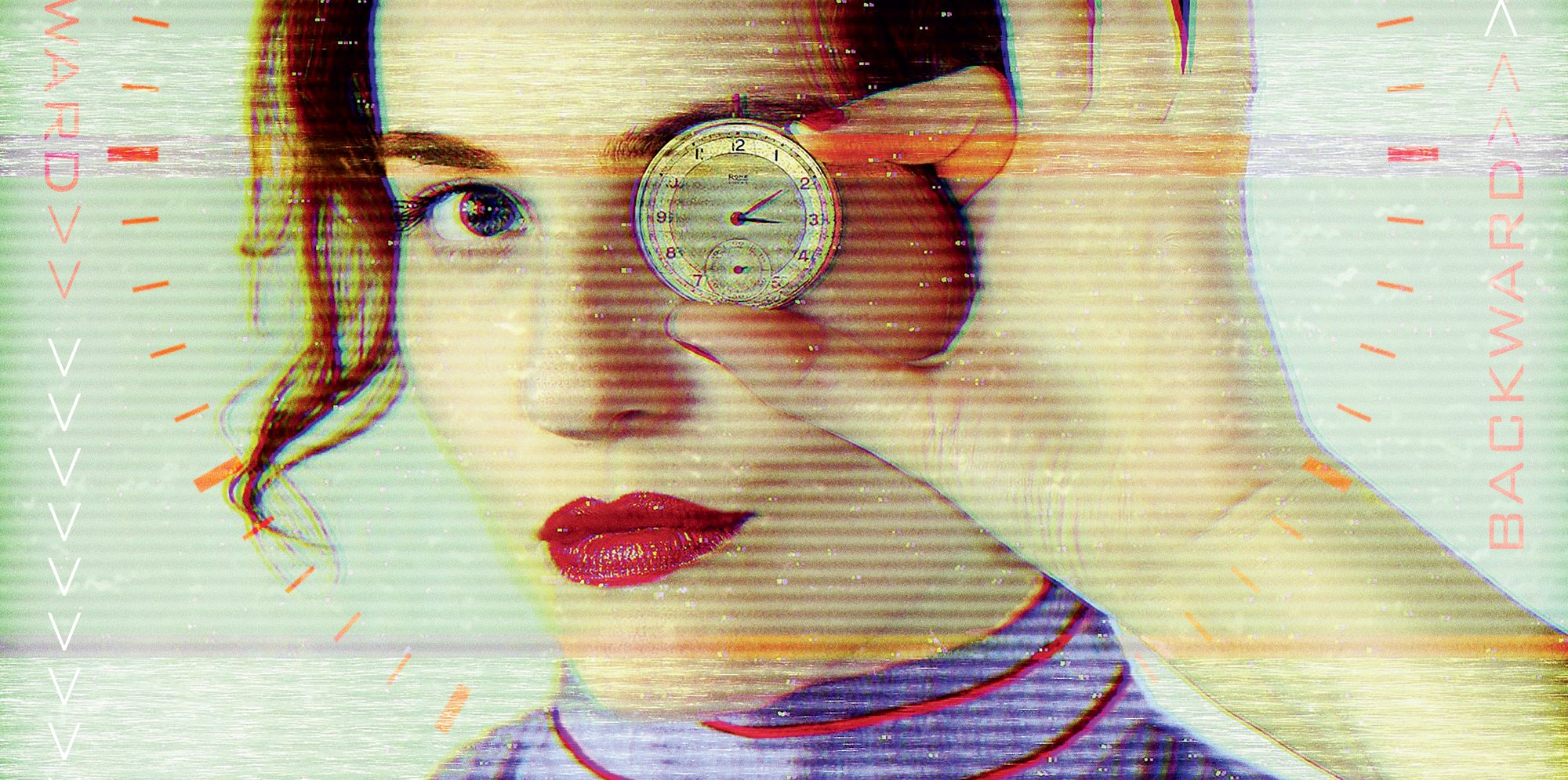 Passionate Machine: Rosy Carrick, in an old-fashioned purple dress, holds a clock face to her eye, looking into the camera with the other eye. A red digital clockface frames her face. A computer glitch distorts the image.
