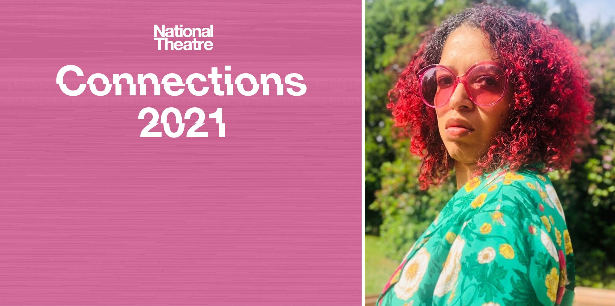 On the left side of the image, a white NT Connections logo is on a pink background. On the right is a picture of Paula Varjack, a mixed race woman wearing large sunglasses and with curly red hair. She wears a bright patterned top and is pictured outdoors.
