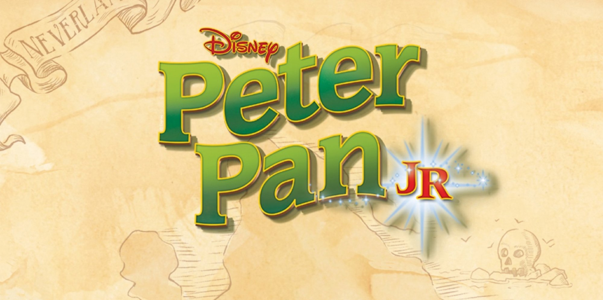 Peter Pan Jr, in green letters on a cartoon rendering of an old treasure map indicating Neverland to the top left and a skeleton on the bottom right