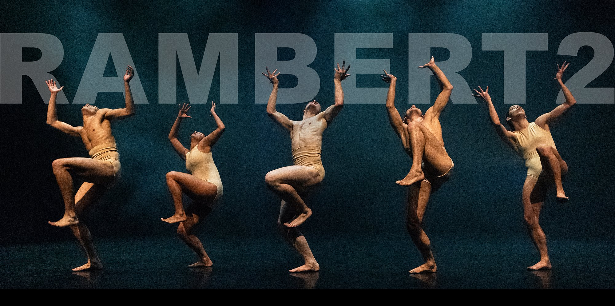 Text says Rambert2 and five dancers are seen striking a contorted pose with legs in the air and hands splayed